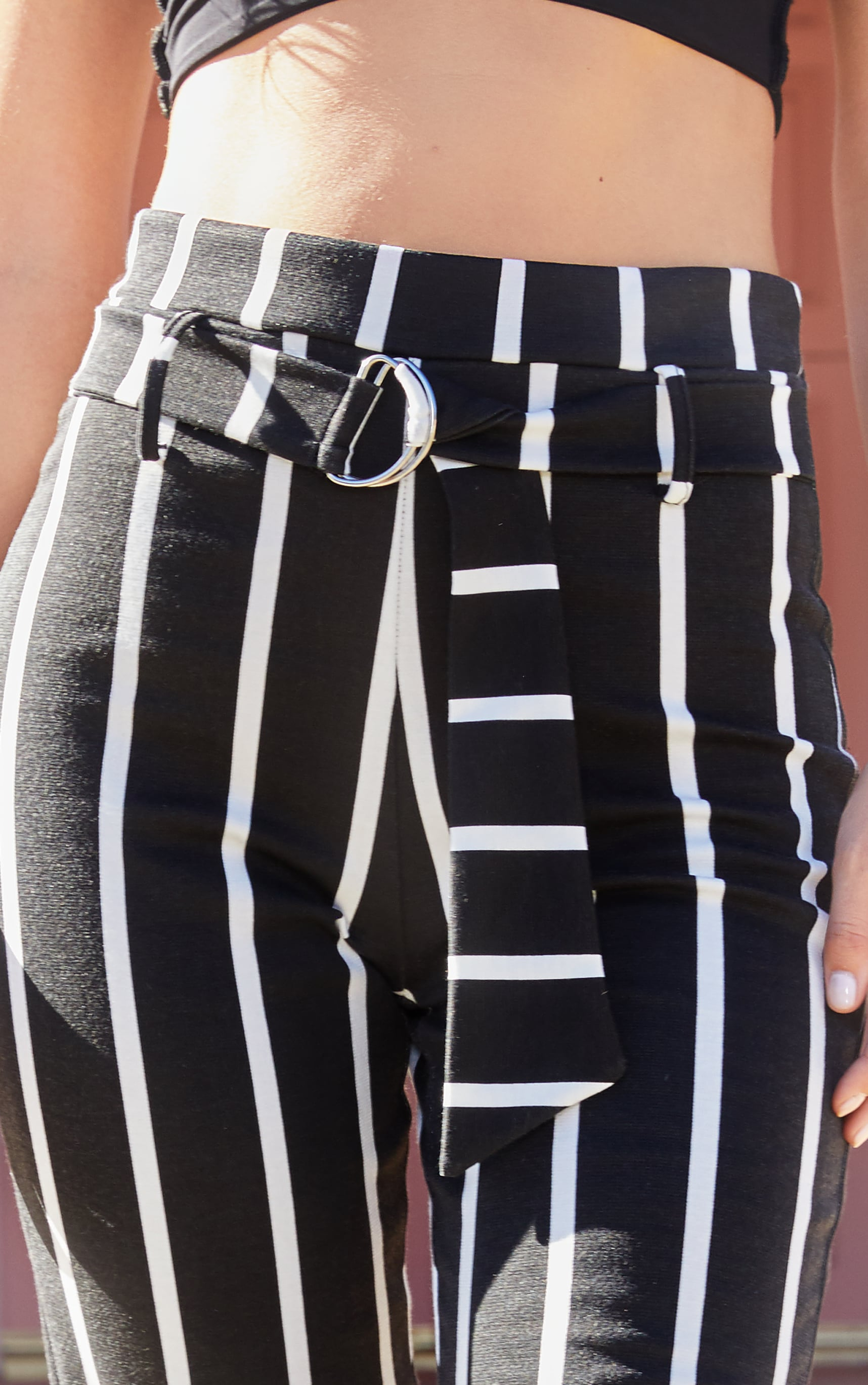 Black Monochrome Stripe Belted Cigarette Pants 5