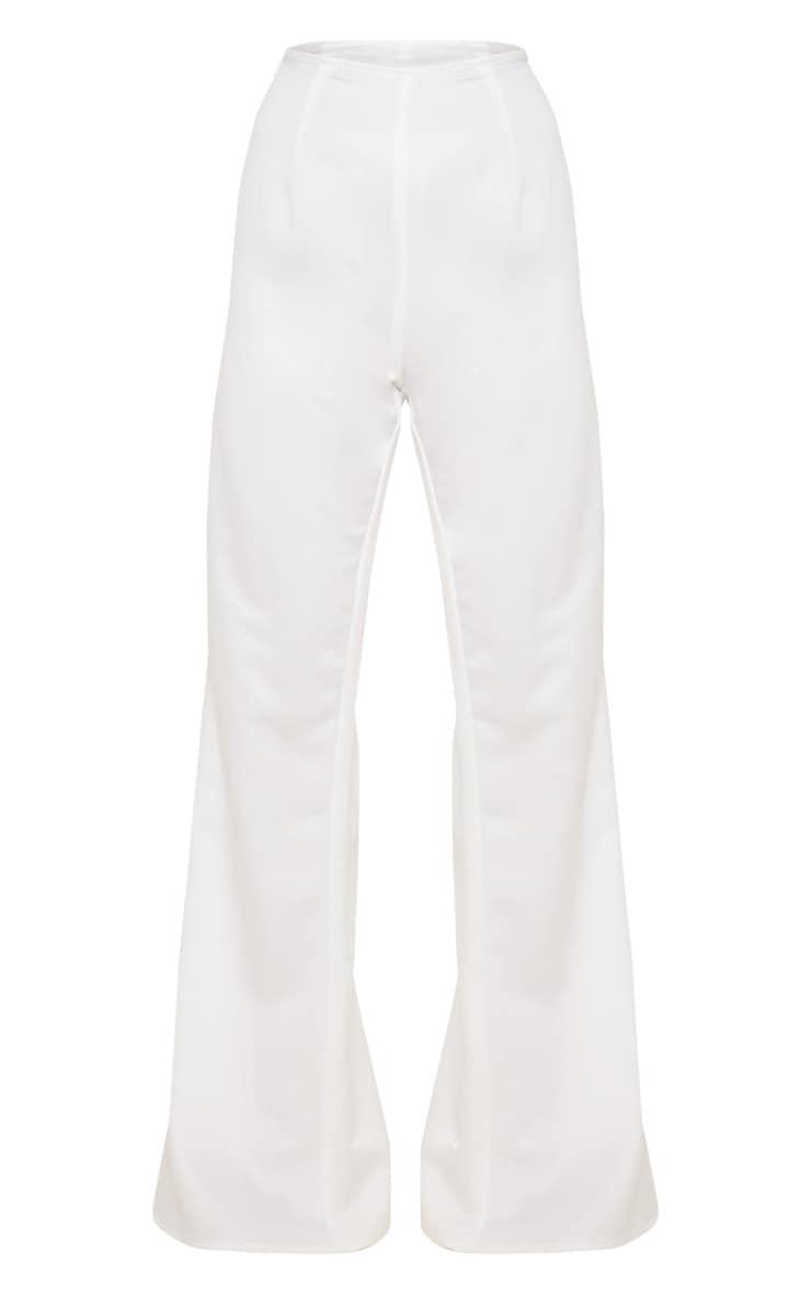 Petite Cream Satin High Waisted Satin Trousers 4