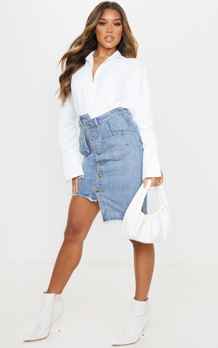 Mid Blue Wash Asymmetric Waist Midi Denim Skirt 4