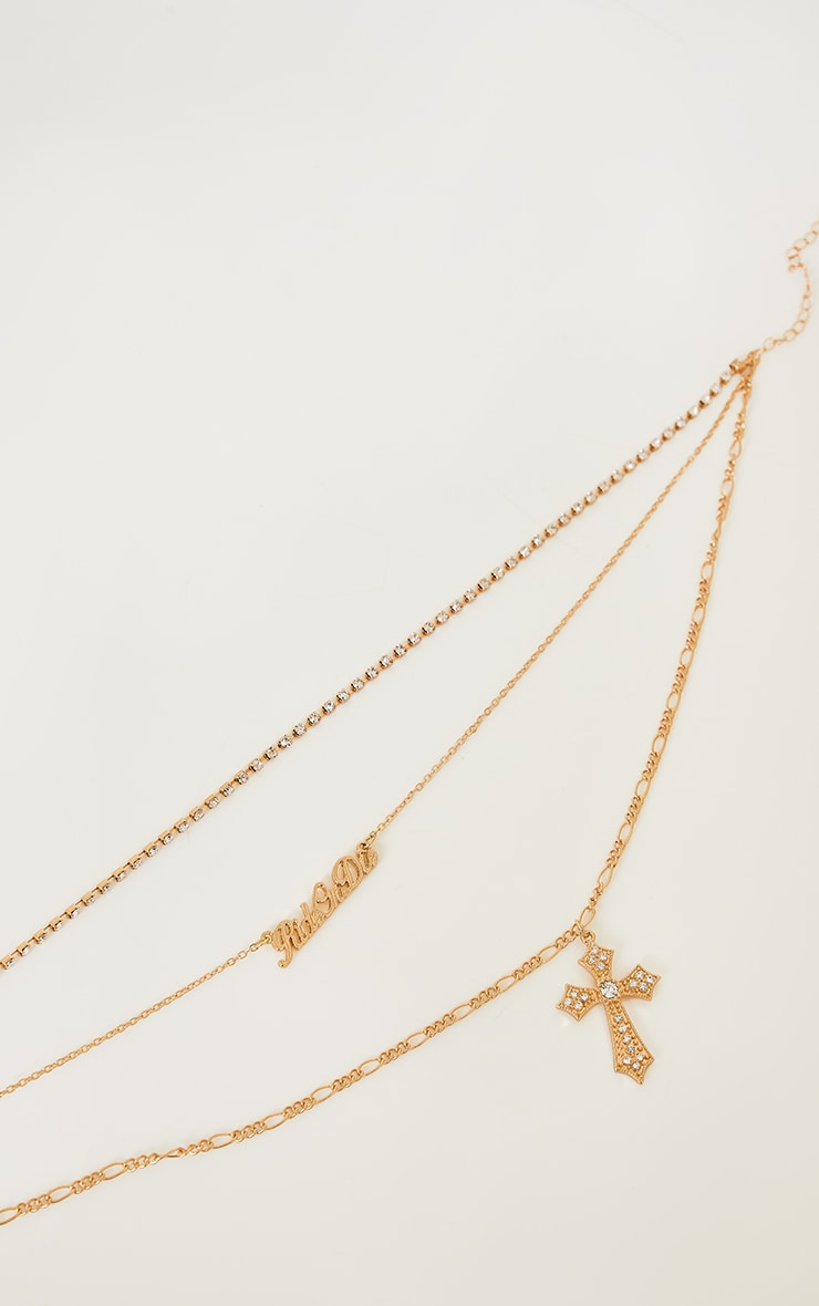 Gold Assorted Diamante Ride Or Die Layering Necklace 4