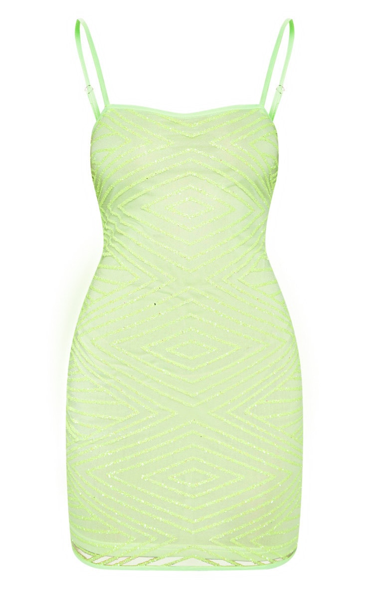 Lime Glitter Diamond Square Neck Bodycon Dress 3