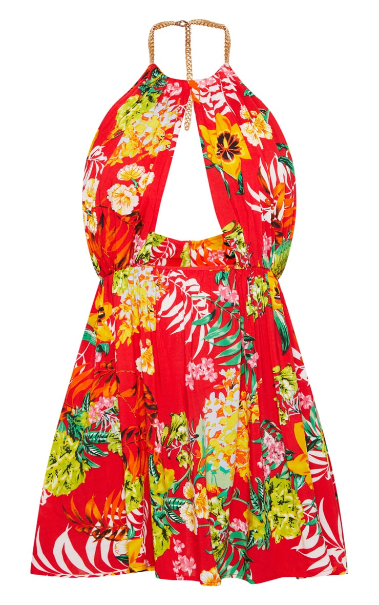 Red Tropical Print Chain Choker Detail Keyhole Skater Dress 3