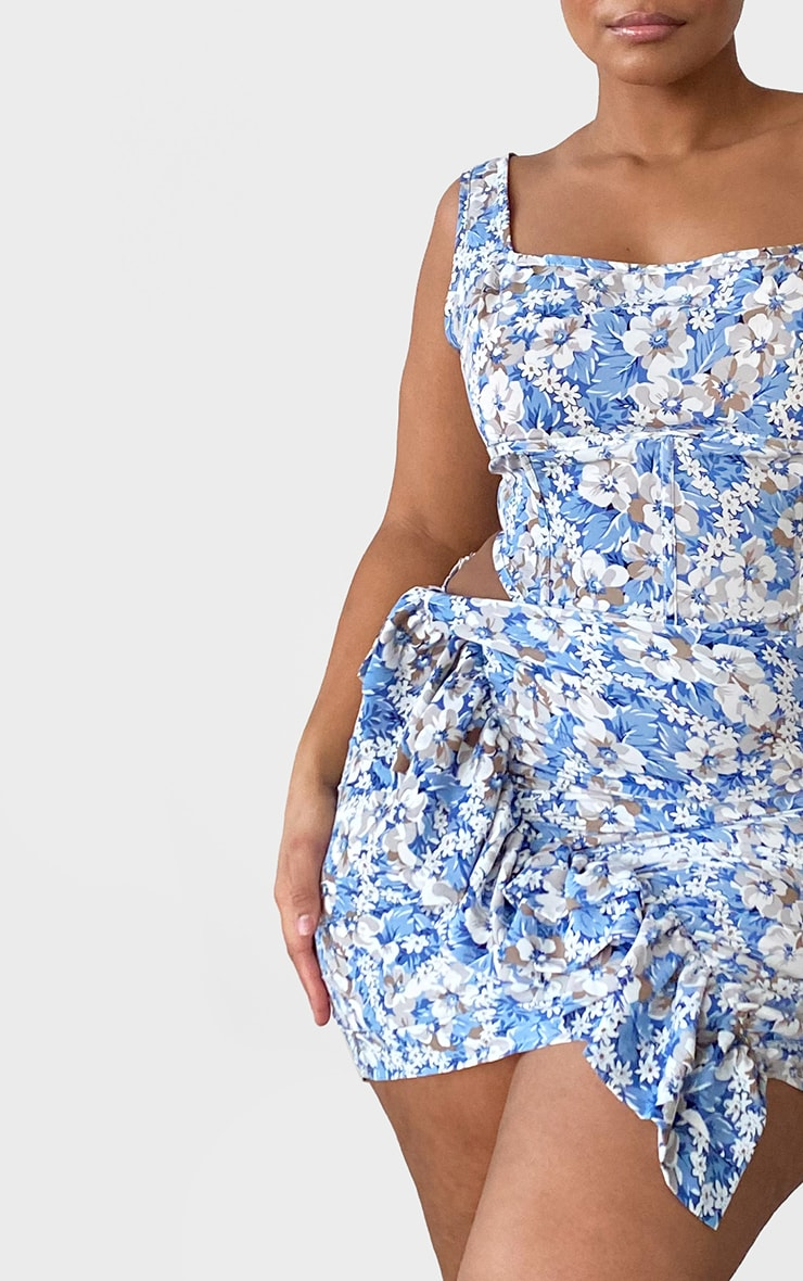 Plus Dusty Blue Floral Seam Detailed Crop Top 4