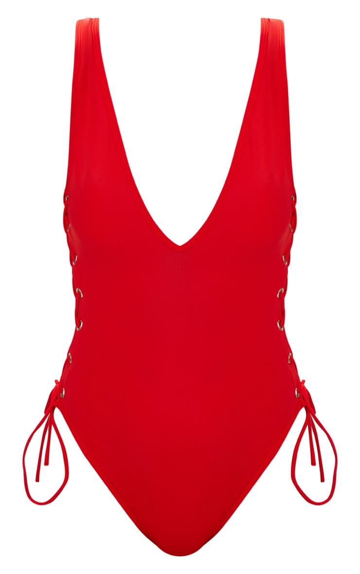 Red Tie Side Plunge Swimsuit  3