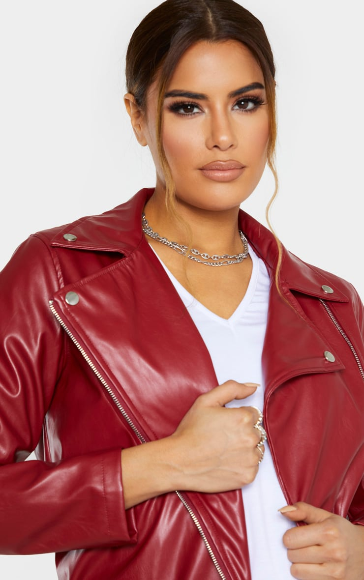 Tall Burgundy Oversized Longline PU Biker Jacket  5