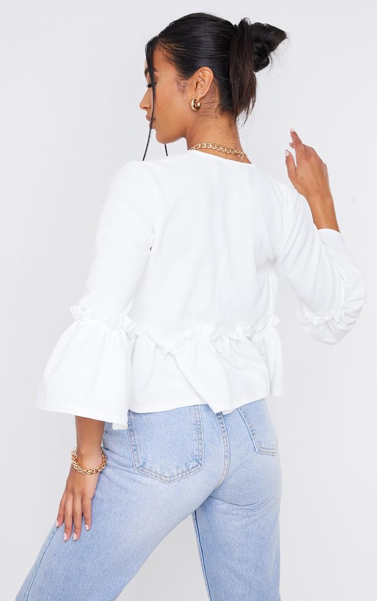 White Frill Sleeve Blazer 2