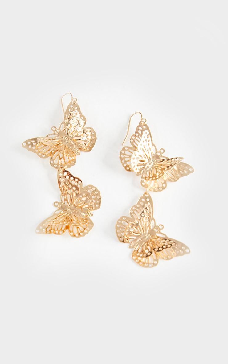 Gold Butterfly Drop Earrings 2