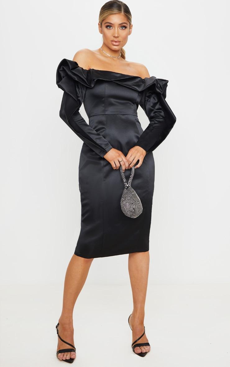 Black Bonded Satin Bardot Ruffle Midi Dress