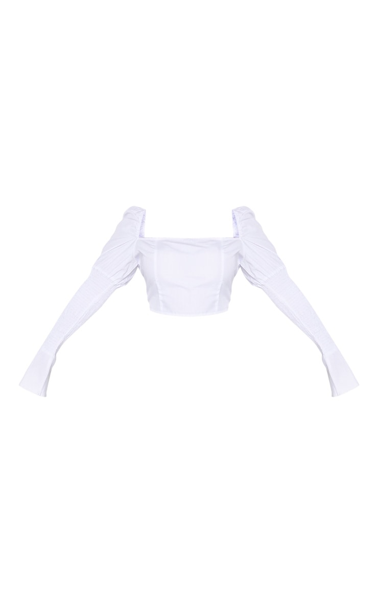 Plus White Shirred Puff Sleeve Blouse 3