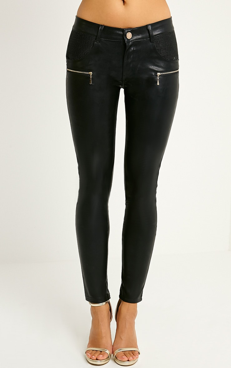 Madden Black Zip Pocket PU Trousers 2