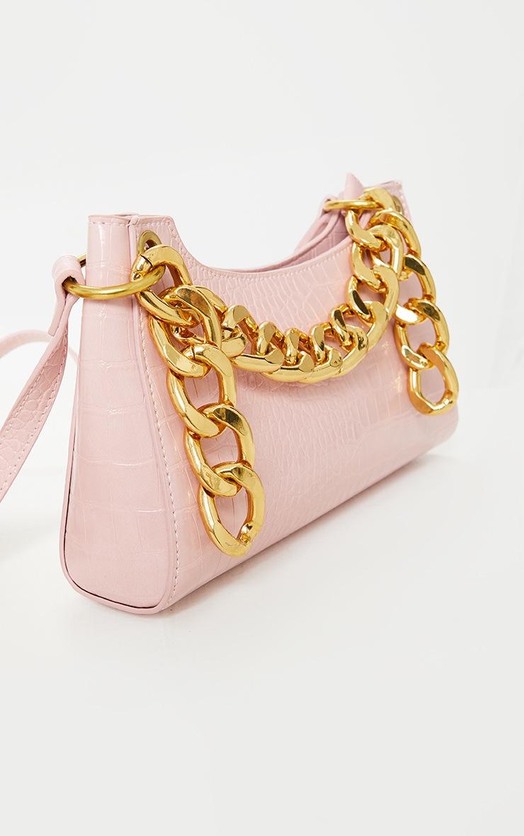 Pink Pu Snake Gold Chunky Chain Cross Body Bag 4