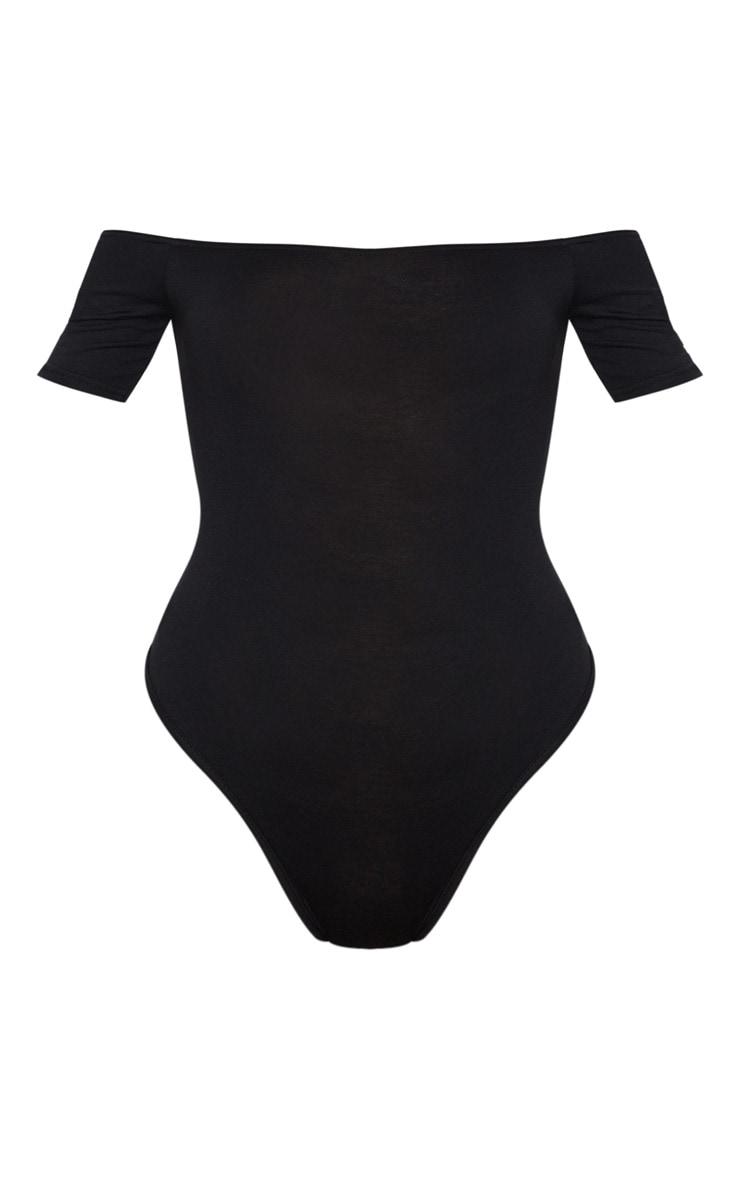 Basic Black/White 2 Pack Bardot Short Sleeve Thong Bodysuit 5