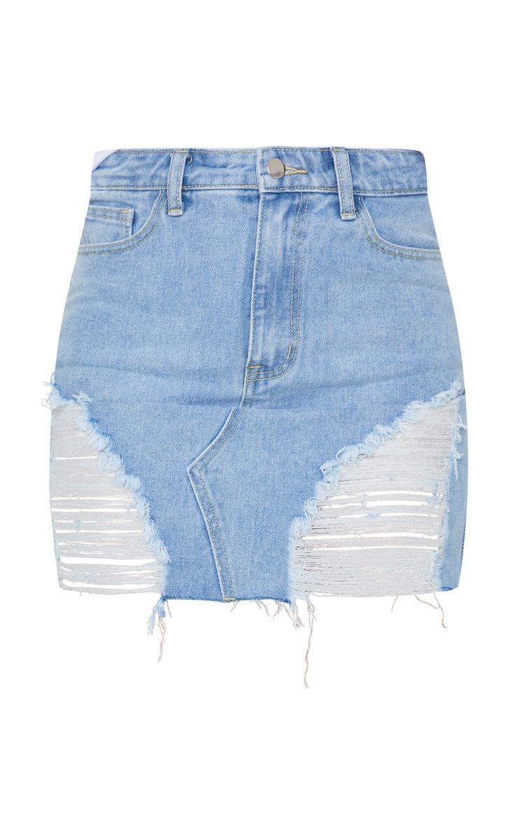 Light Blue Wash Ripped Mini Denim Skirt 6