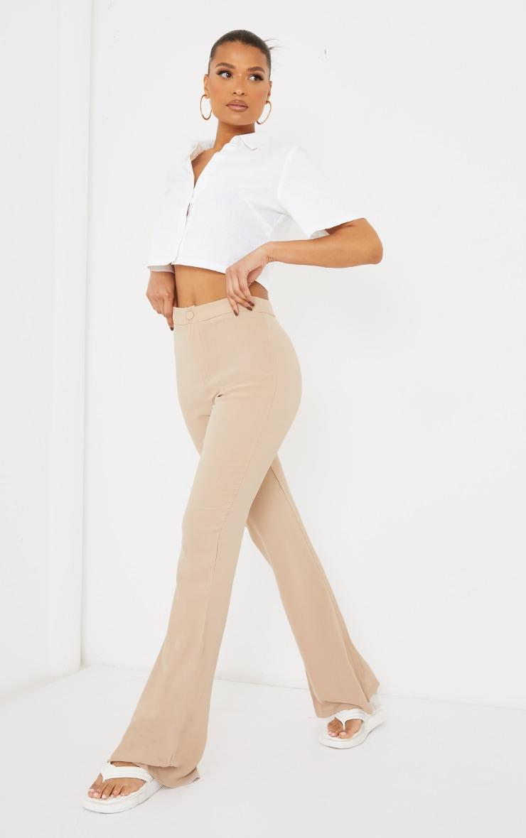 White Linen Feel Short Sleeve Crop Shirt 3