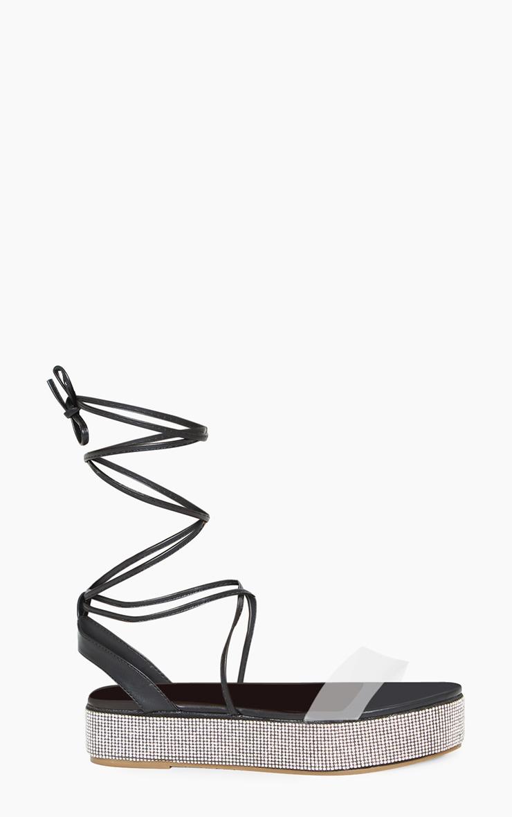 Black Diamante Sole Flatform Sandals 3