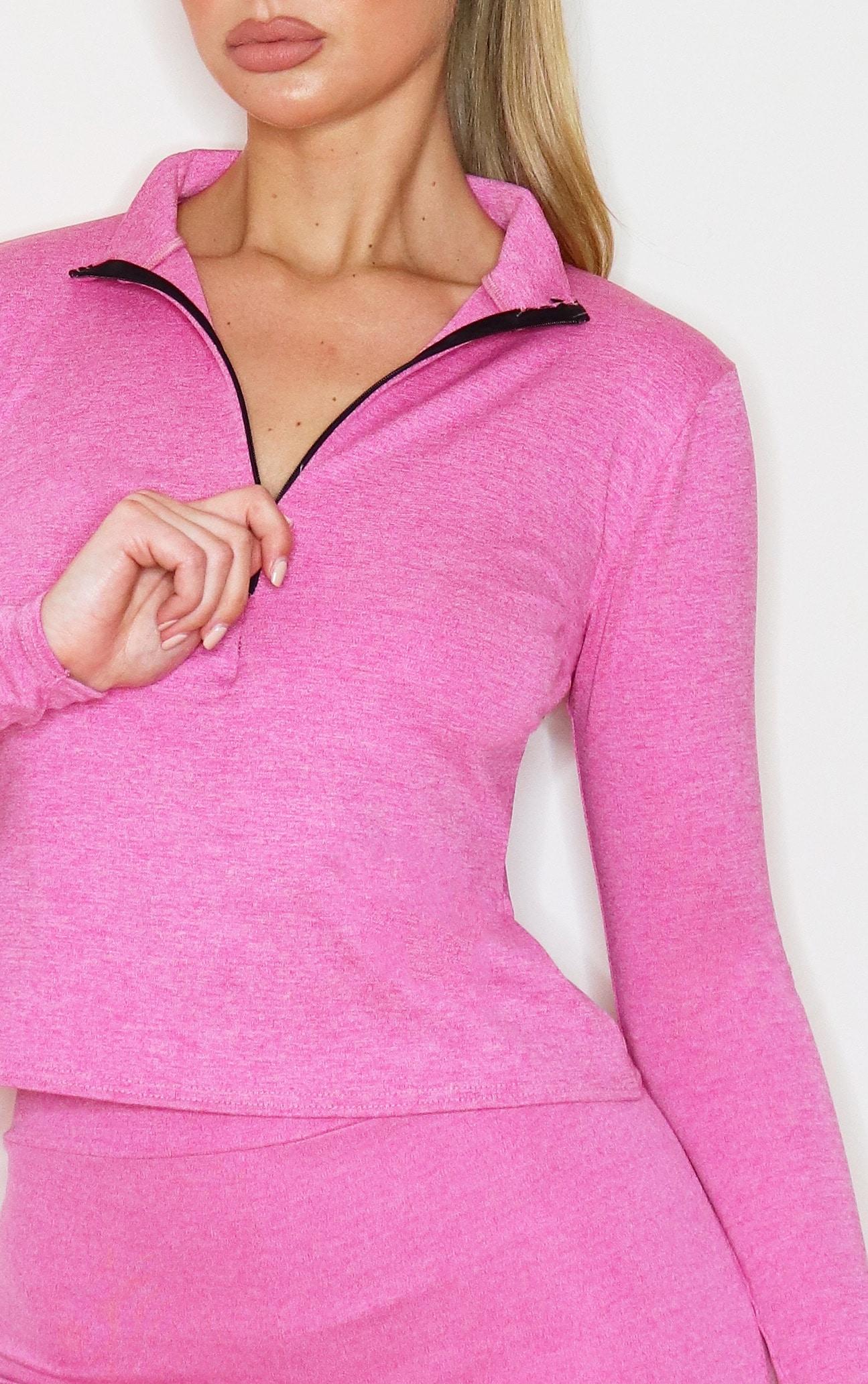 Pink Marl Half Zip Gym Top 4