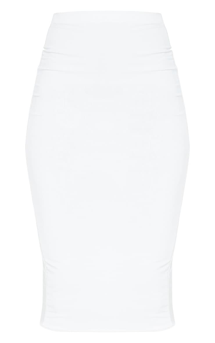 Aidy White Slinky Long Line Midi Skirt  3