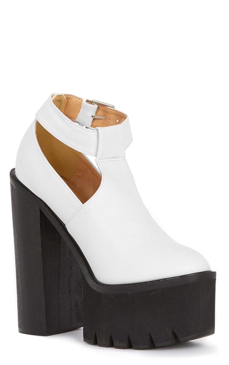 Felicia White Chunky Heel Ankle Strap Sandal 3