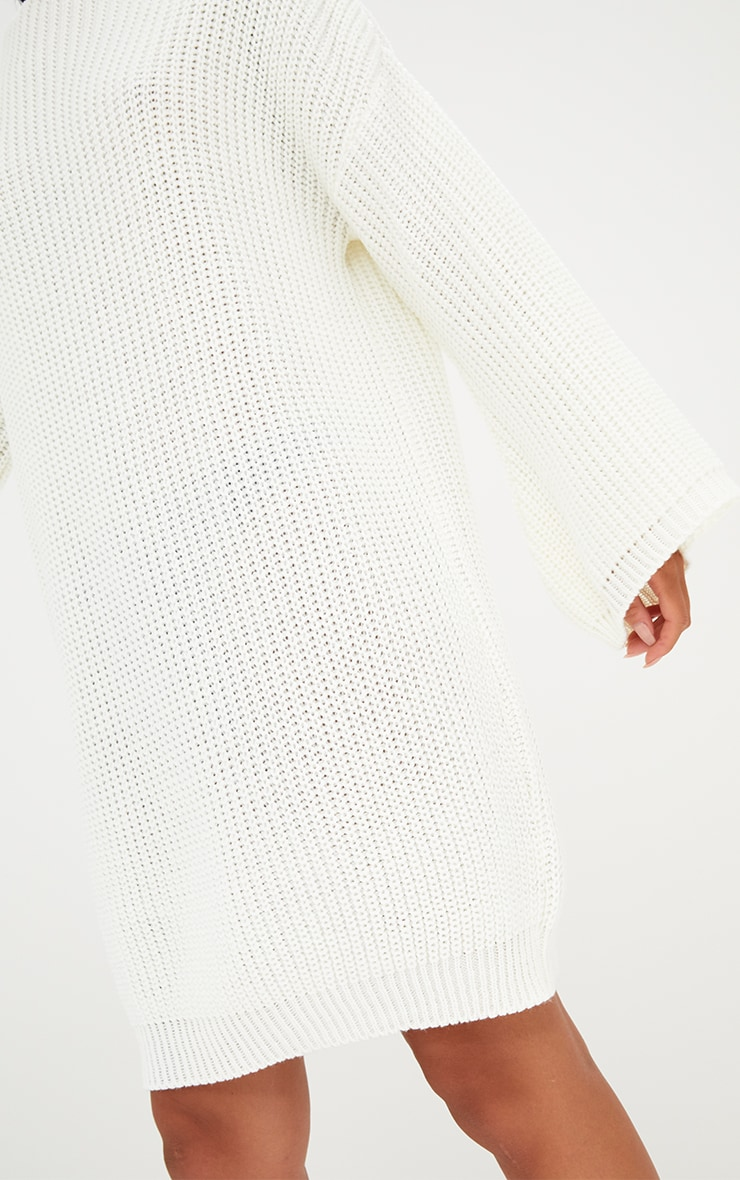 Cream Chunky Knit Flute Sleeve Jumper Dress 5