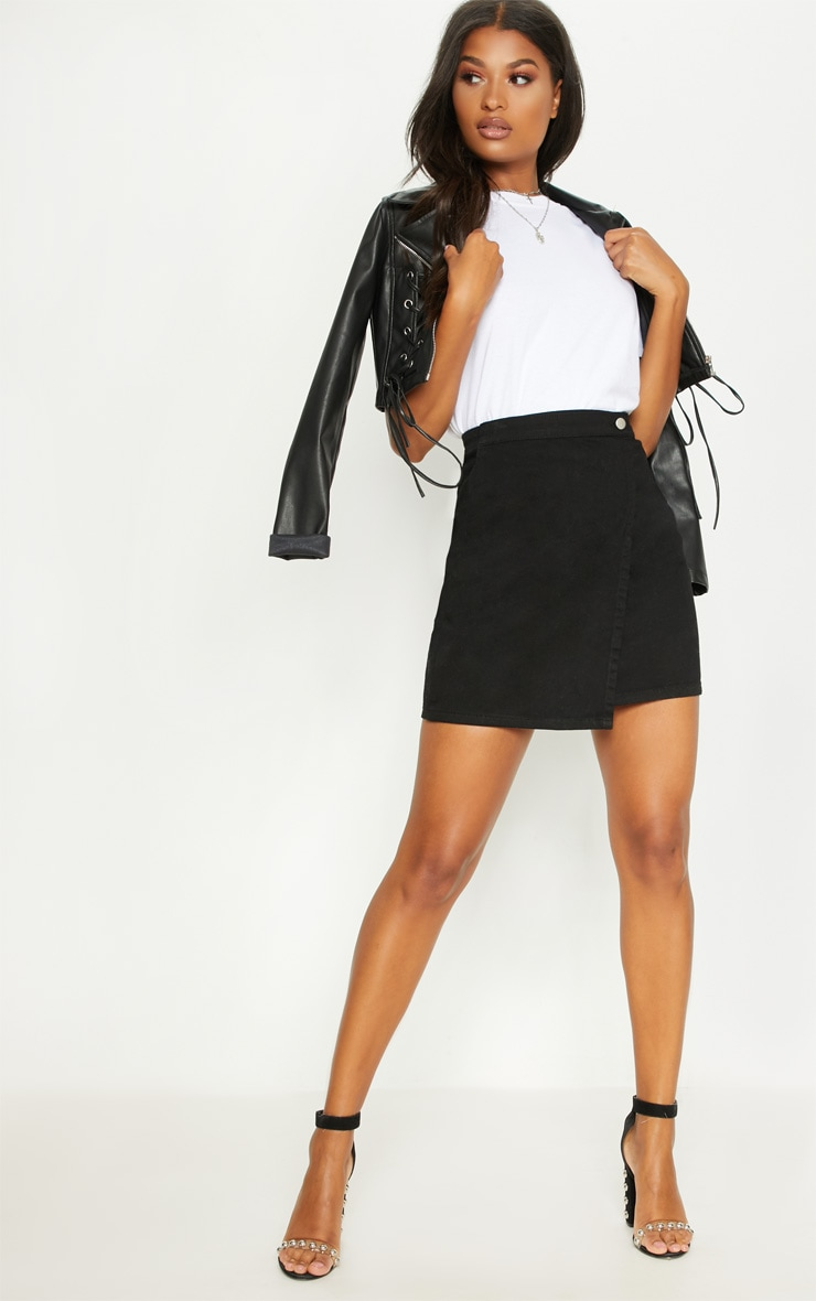 Black Denim Wrap Mini Skirt 1