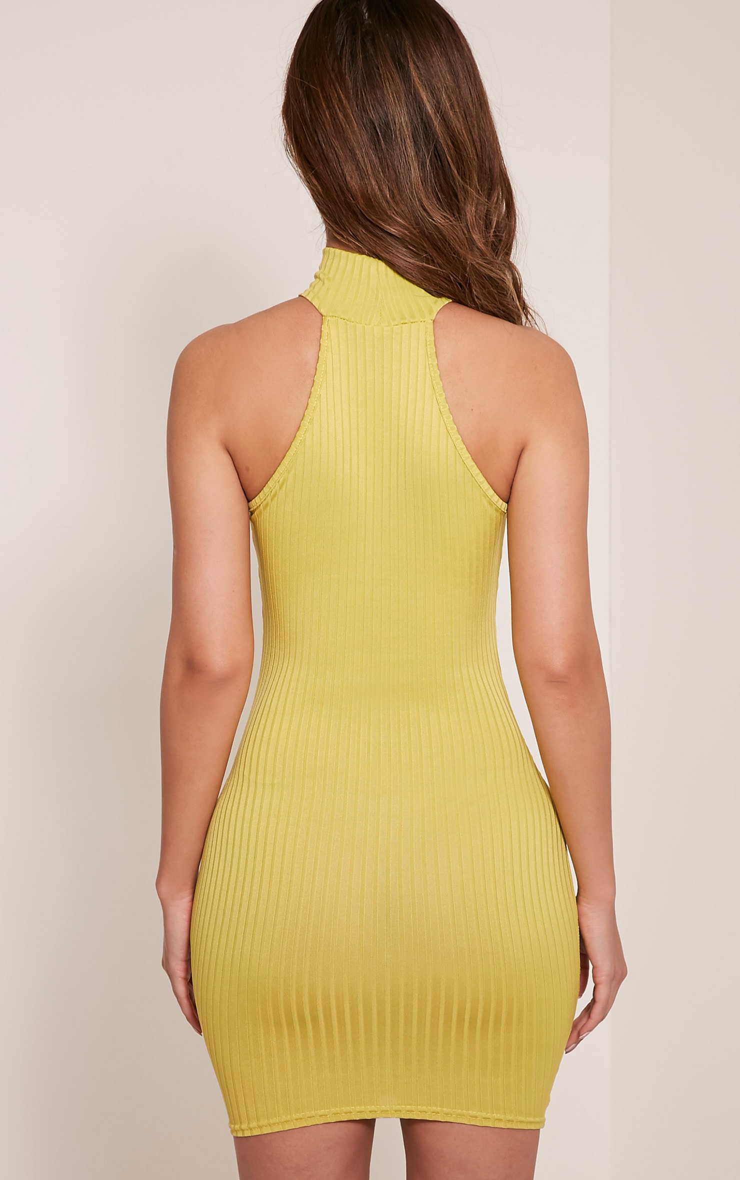 Pearla Dark Lime Racer Neck Ribbed Bodycon Dress 3