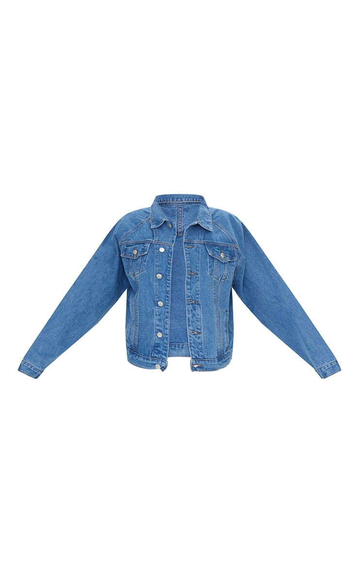 Mid Wash Drop Shoulder Oversized Denim Jacket 5