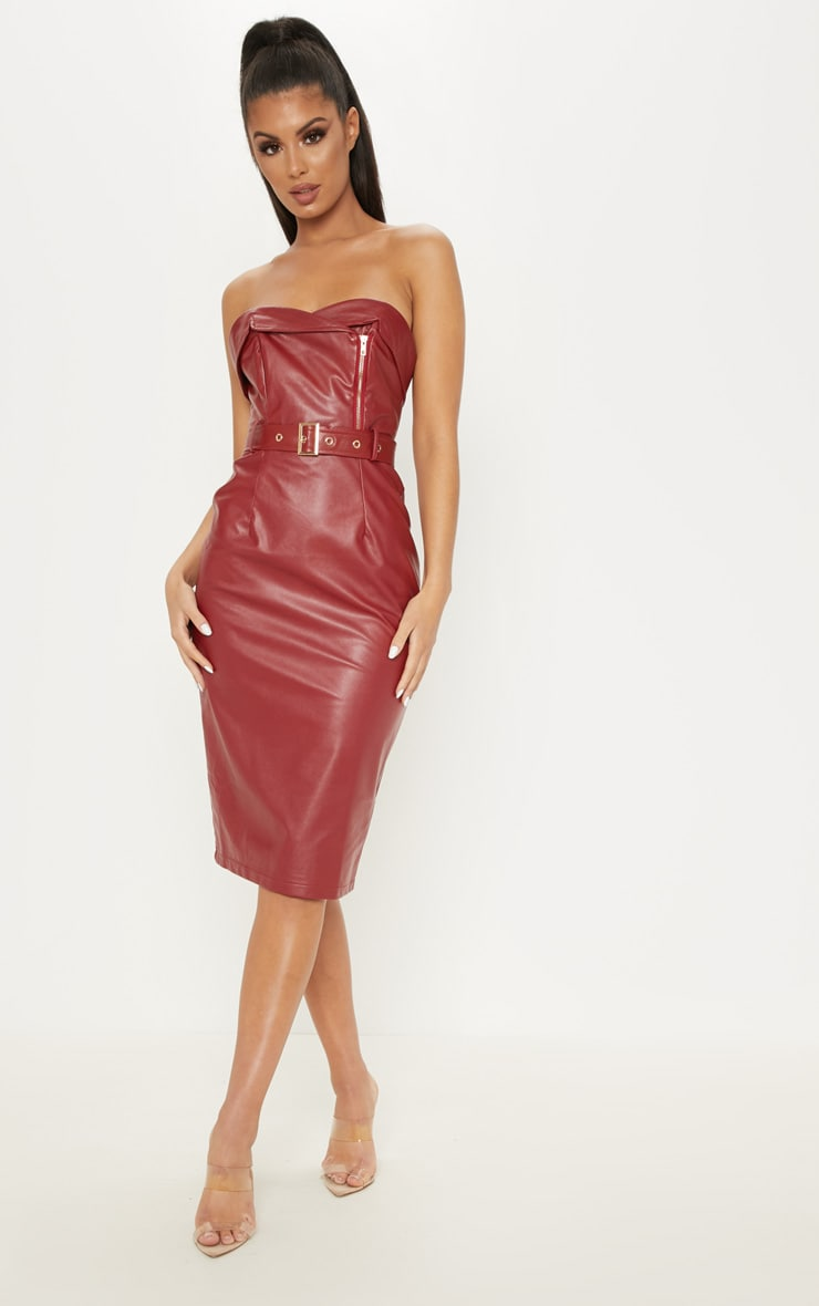 3f2253630c63 Oxblood Faux Leather Belted Midi Dress image 1