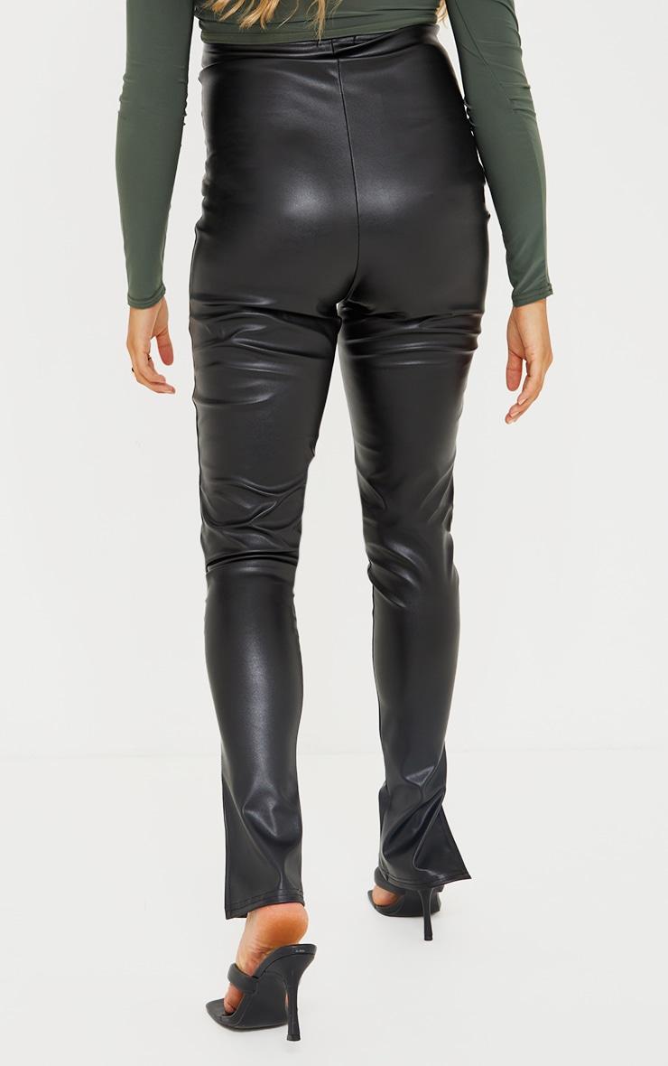 Maternity Black Faux Leather Split Hem Straight Leg Leggings 3