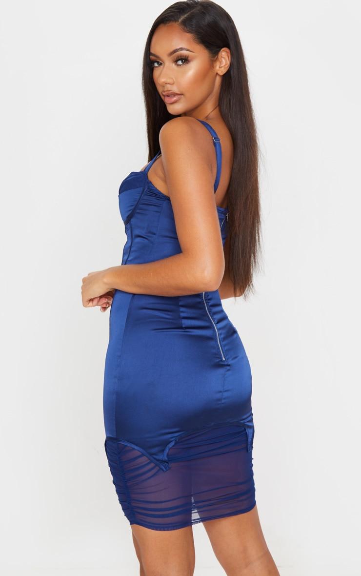 Robe mi-longue satinée bleu nuit style corset à parties mesh 3