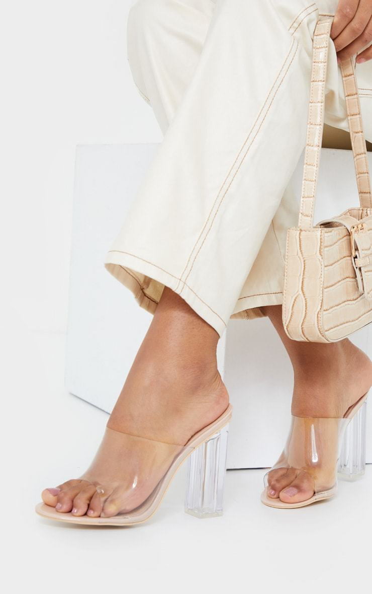 Nude Clear High Block Mule Heel 1
