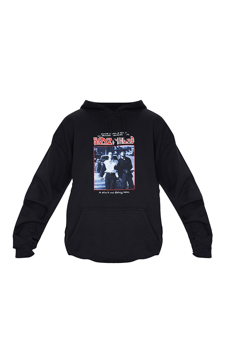 Black Slogan Boyz In The Hood Print Hoodie 5