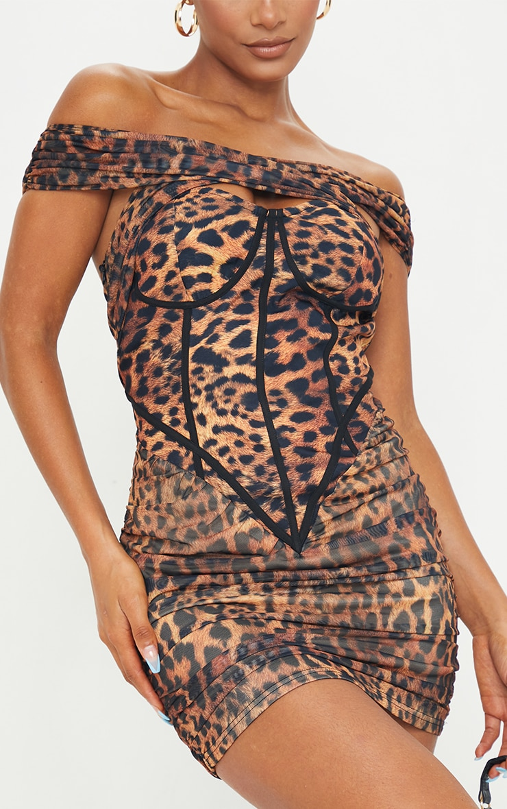 Brown Leopard Print Mesh Binding Detail Bardot Bodycon Dress 4