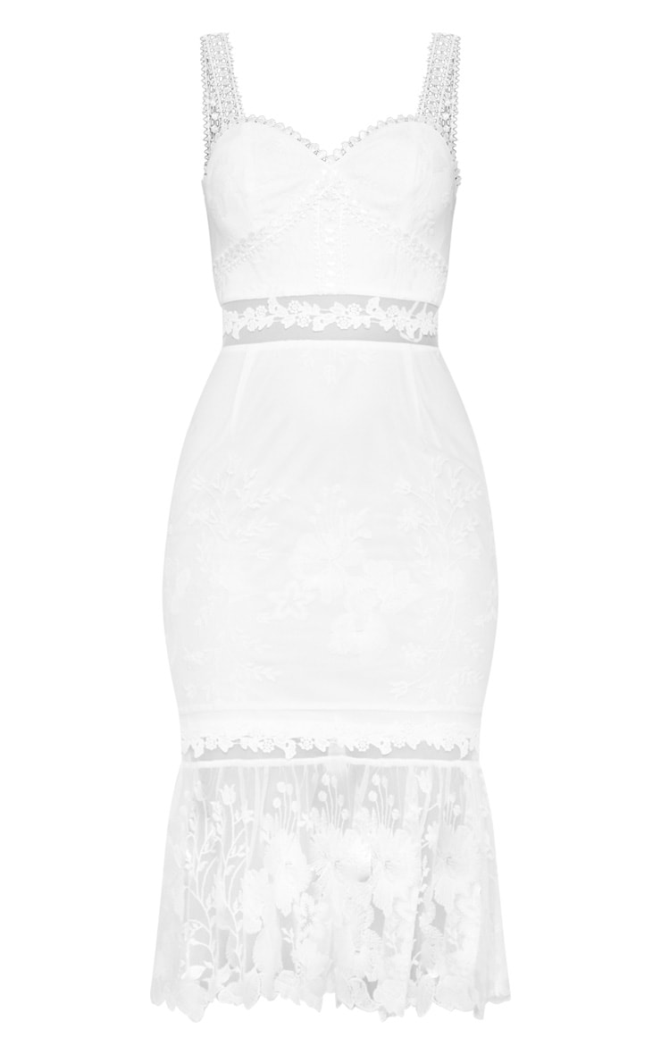 White Mixed Lace Midi Dress 3