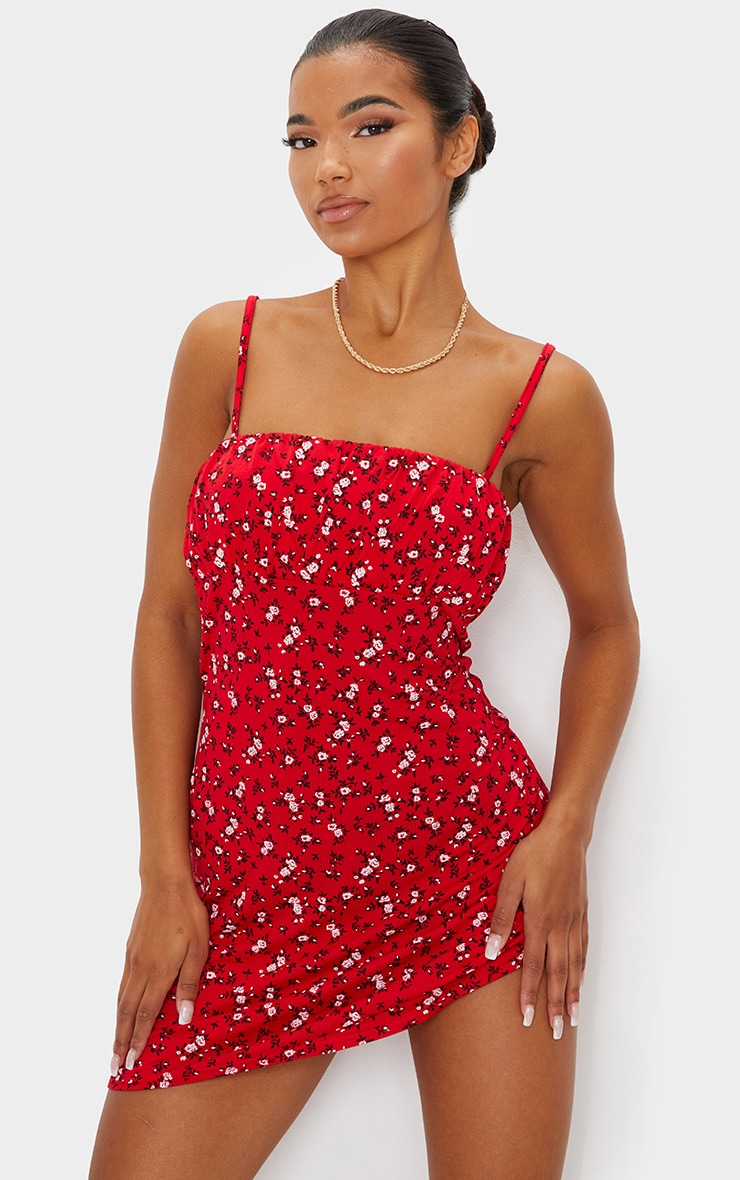 Red Ditsy Floral Print Ruched Bust Shift Dress 1