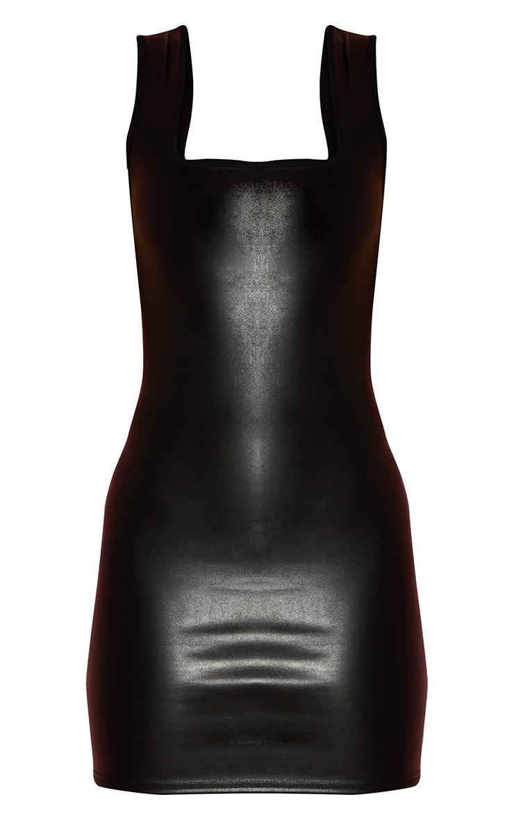Black PU Lace Up Back Detail Sleeveless Bodycon Dress 5