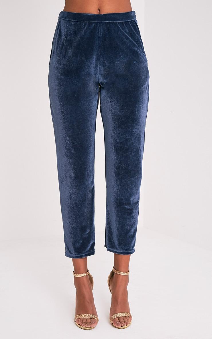 Tasmine pantalon cigarette bleu en velours 4