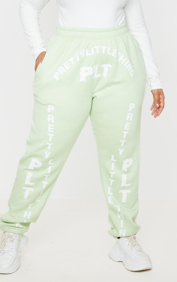PRETTYLITTLETHING Plus Mint Green Slogan Printed Joggers 2