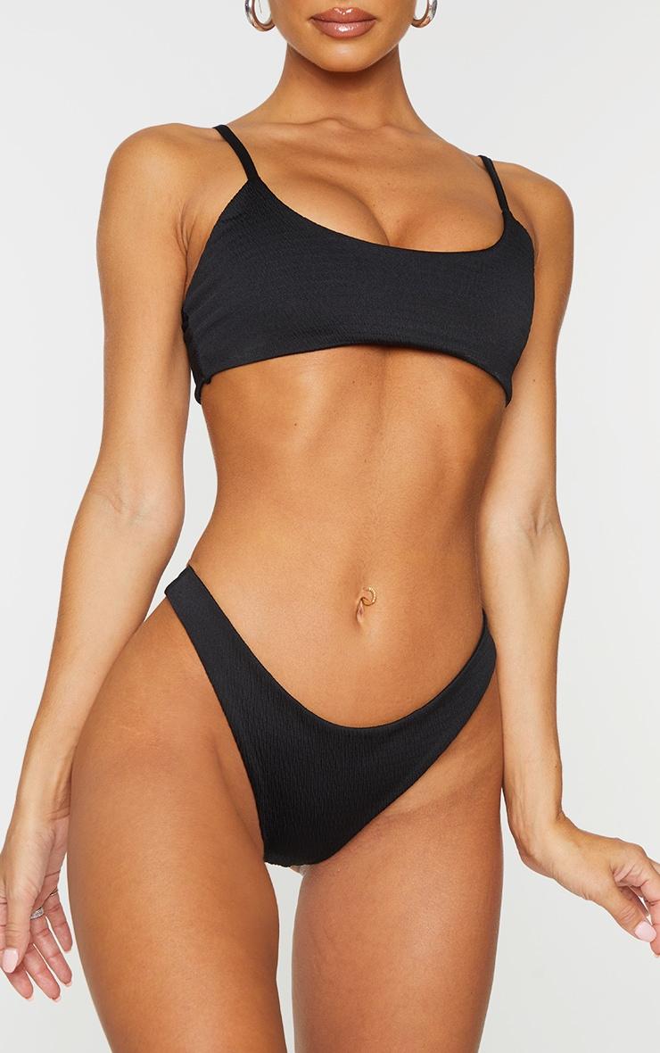 Black Crinkle Brazilian Thong Bikini Bottom 1