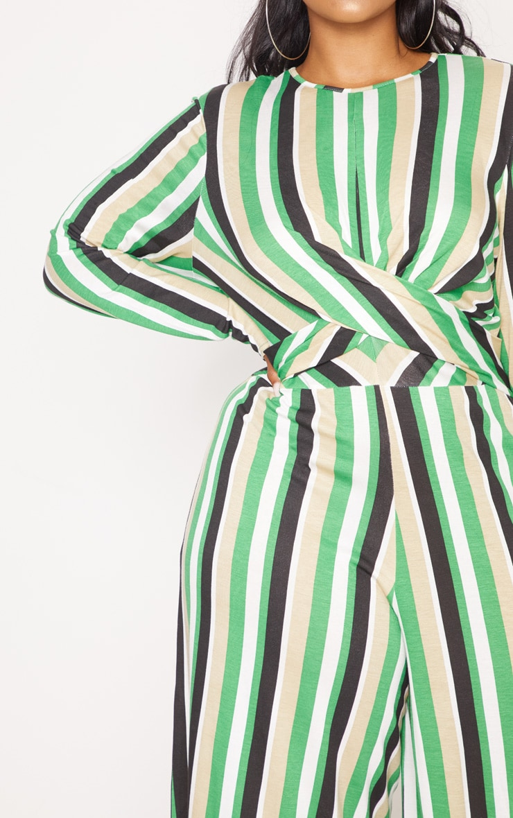 Plus Green Twist Front Stripe Culotte Jumpsuit 5