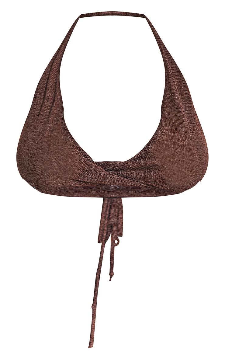 Plus Chocolate Tie Back Sheer Knit Bralet 8