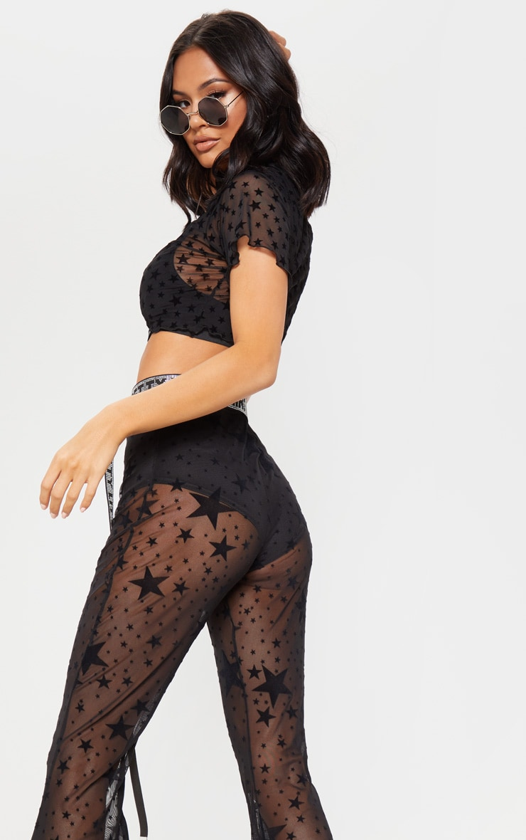 Black Mesh Star Flock Flared Trouser 5