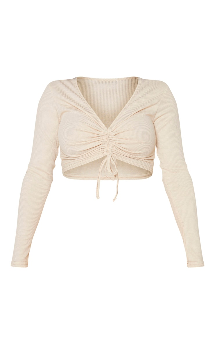 Shape Sand Ribbed Long Sleeve Ruched Front Crop Top 3