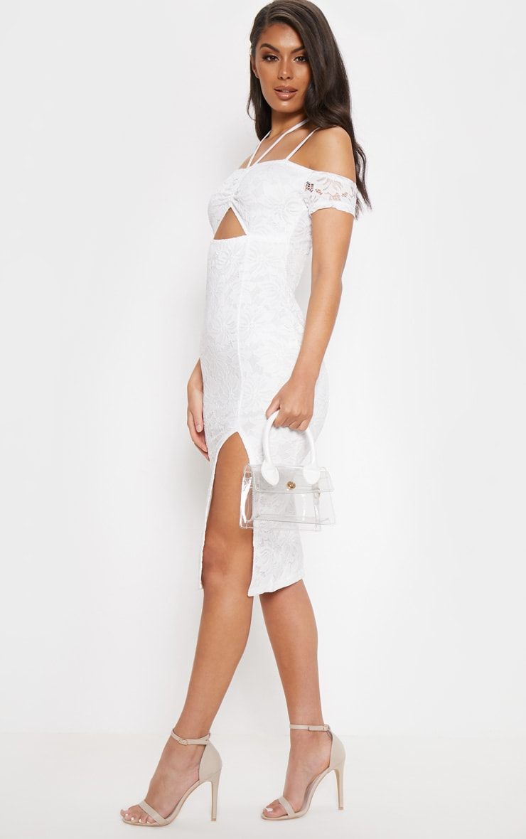 White Lace Ruched Cut Out Midi Dress 4