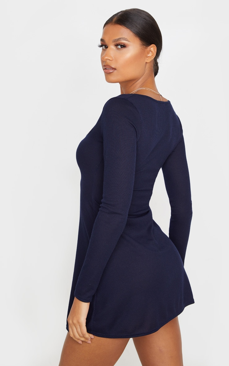 Navy Ribbed Square Neck Long Sleeve Shift Dress 2