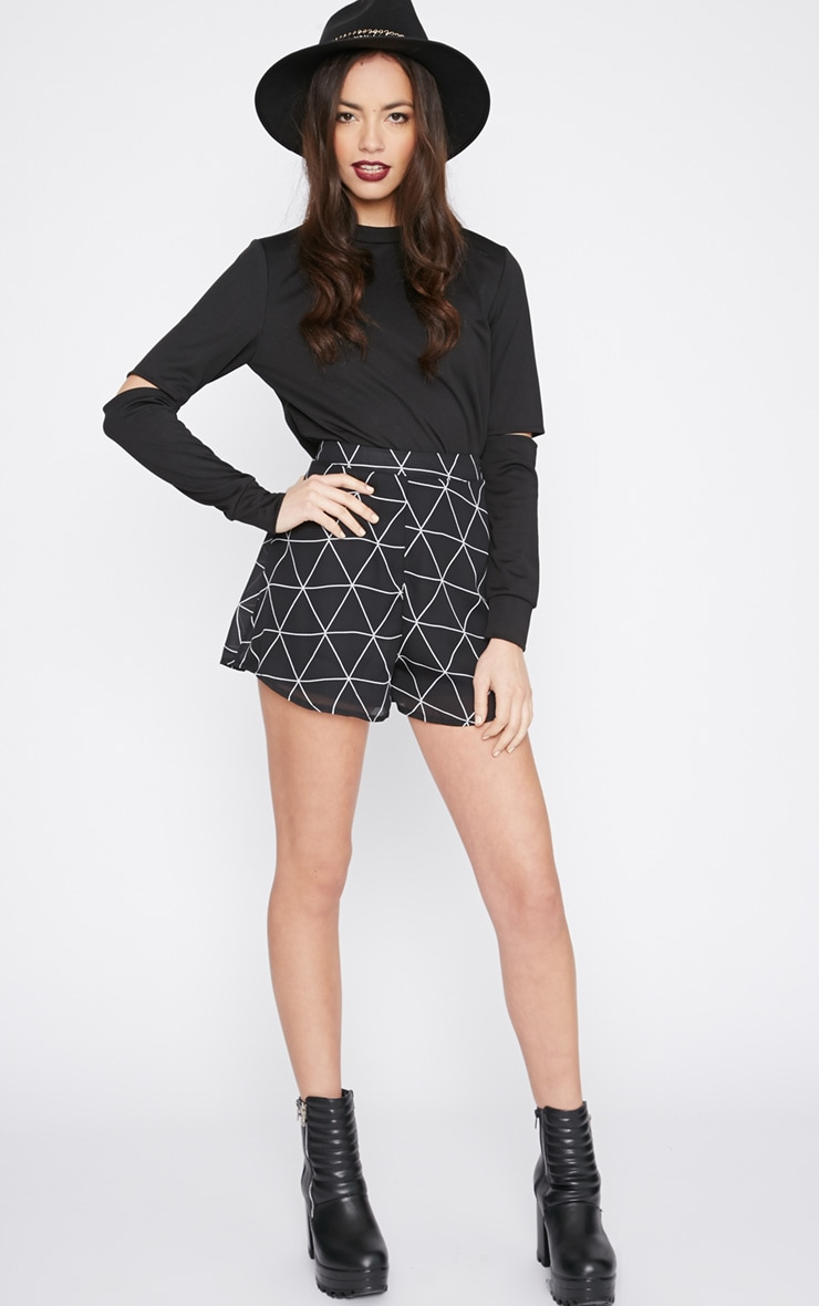 Lala Black Split Arm Turtle Neck Crop Top  3
