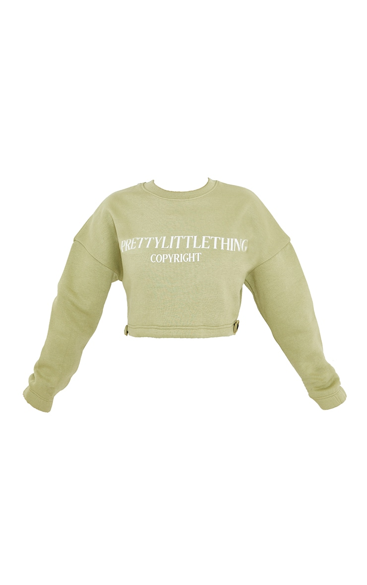 PRETTYLITTLETHING Petite Sage Green Cropped Sweater 5