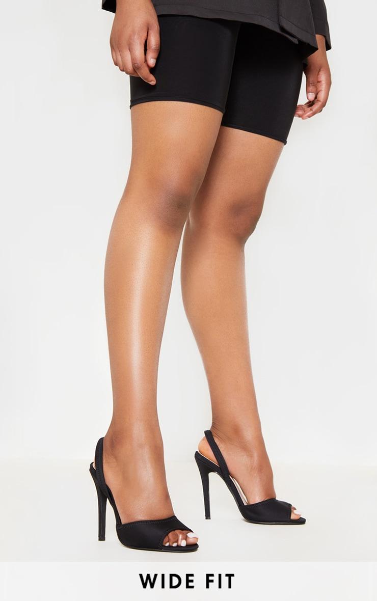 ee0f052716 Black Wide Fit Peeptoe Slingback Sandal | PrettyLittleThing USA
