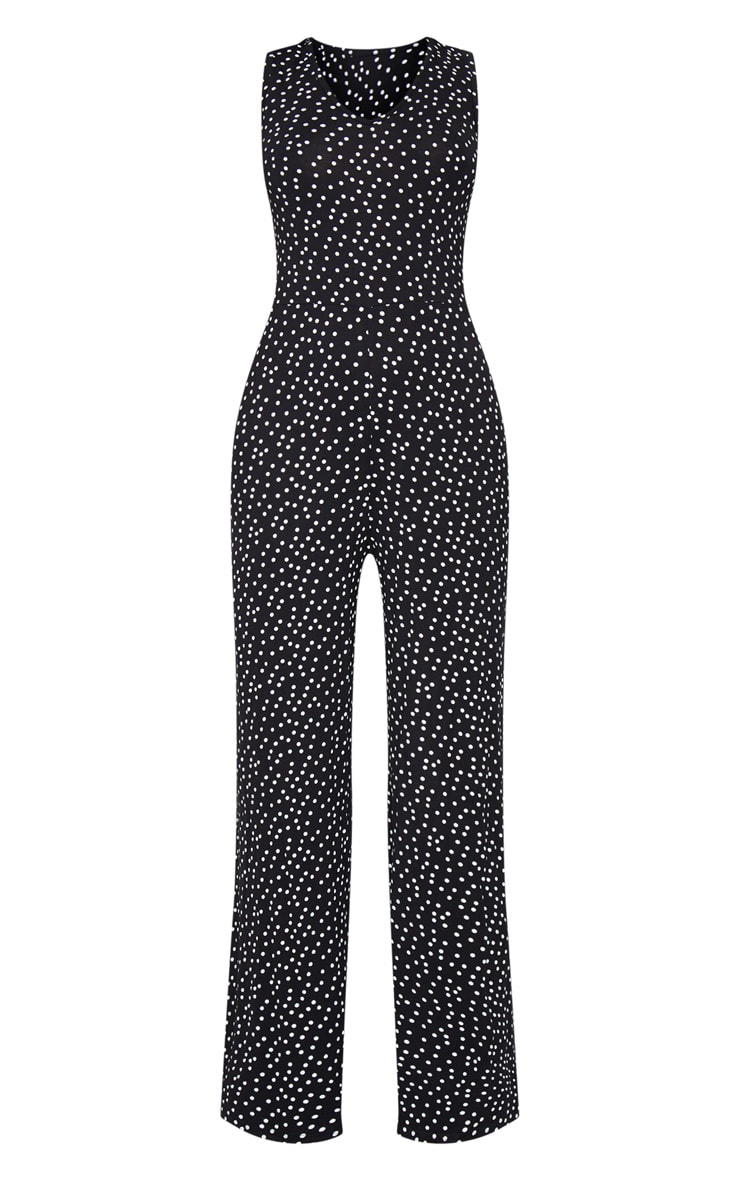 Black Polka Dot Wide Leg Jersey Jumpsuit 5