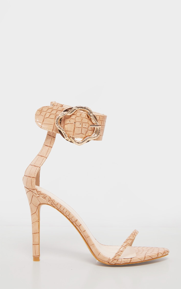 Nude Snake Buckle Strappy Sandal 4