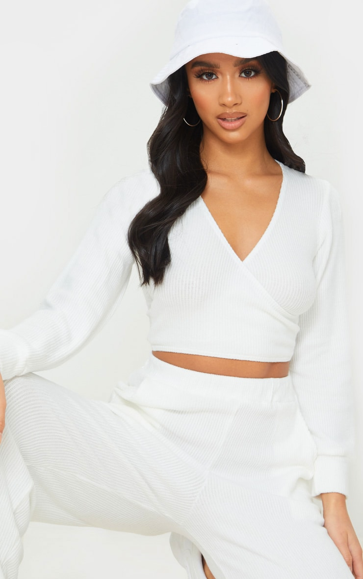 Petite Cream Wrap Over Long Sleeve Brushed Rib Crop Top 1